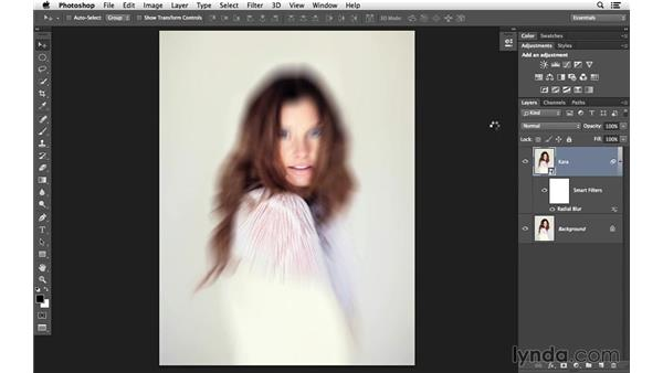 Masking in a Radial filter effect: Creative Blurring with Photoshop