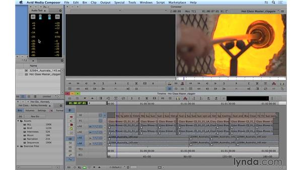 Adjusting clip gain from the bin and timeline: Avid Media Composer 8 Essential Training