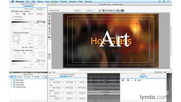 Using Avid Marquee to create basic titles: Avid Media Composer 8 Essential Training