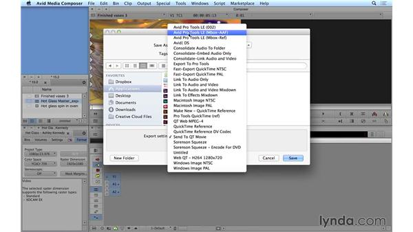 Accessing other export functions: Avid Media Composer 8 Essential Training