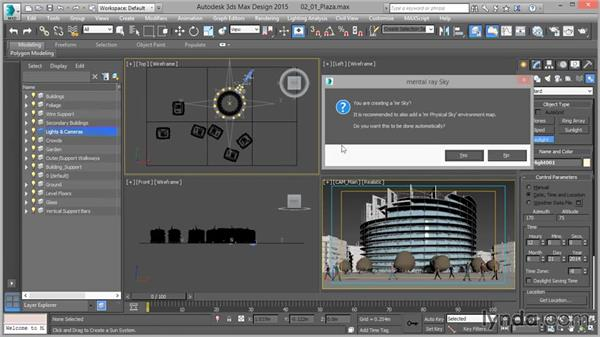 Creating a daylight system: Up and Running with mental ray in 3ds Max