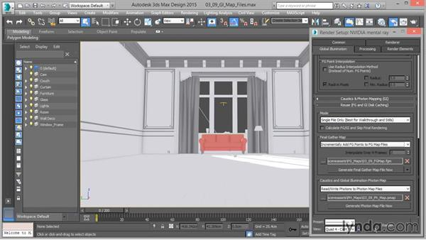 Saving and reusing indirect illumination map files: Up and Running with mental ray in 3ds Max