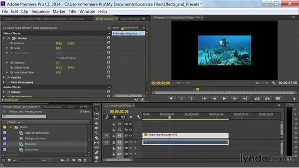Using fixed effects (Motion, Opacity, and Speed): Premiere Pro Guru: Effects and Preset Management