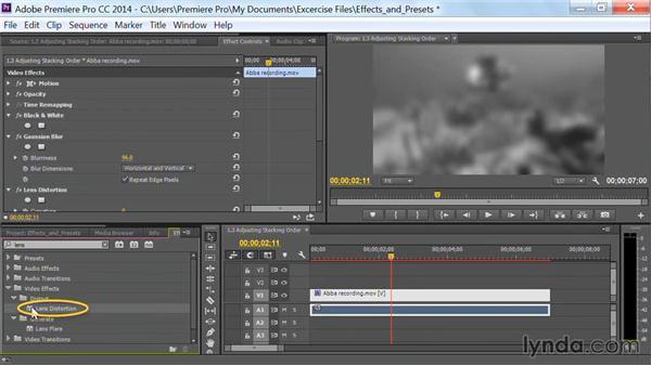 Adjusting stacking order: Premiere Pro Guru: Effects and Preset Management