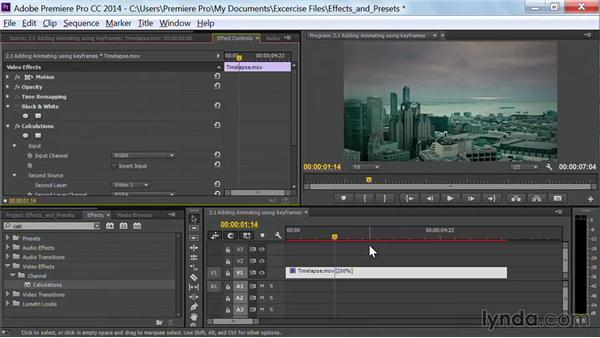 Adding animation using keyframes: Premiere Pro Guru: Effects and Preset Management