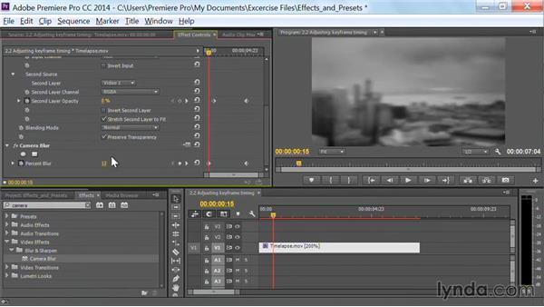 Adjusting keyframe timing: Premiere Pro Guru: Effects and Preset Management