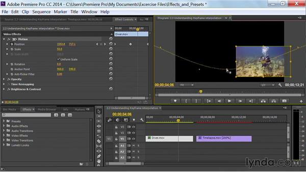 Understanding keyframe interpolation: Premiere Pro Guru: Effects and Preset Management
