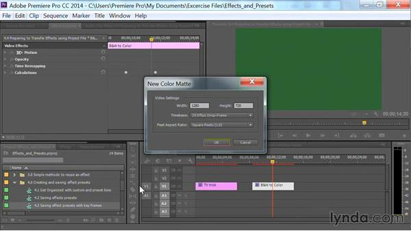 Preparing to transfer effects using a project file: Premiere Pro Guru: Effects and Preset Management