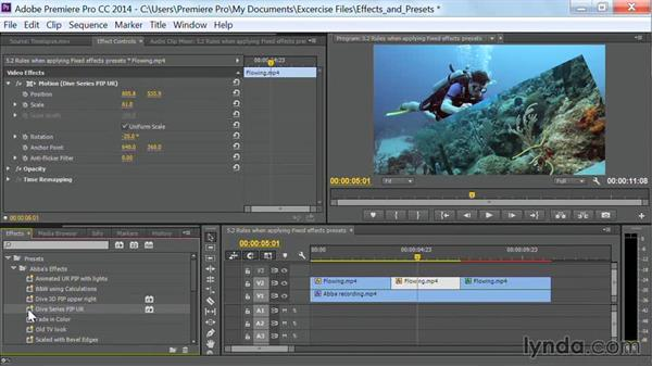 Rules when applying fixed effects presets: Premiere Pro Guru: Effects and Preset Management