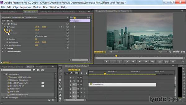Animated picture-in-picture effects: Premiere Pro Guru: Effects and Preset Management