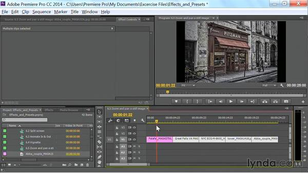 Zoom and pan a still image: Premiere Pro Guru: Effects and Preset Management