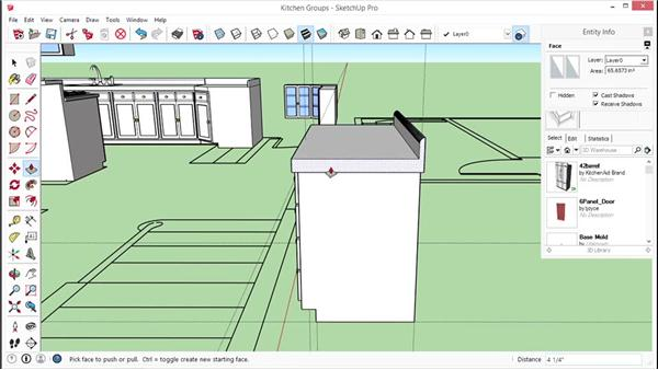Adding kitchen components: SketchUp for Interior Design