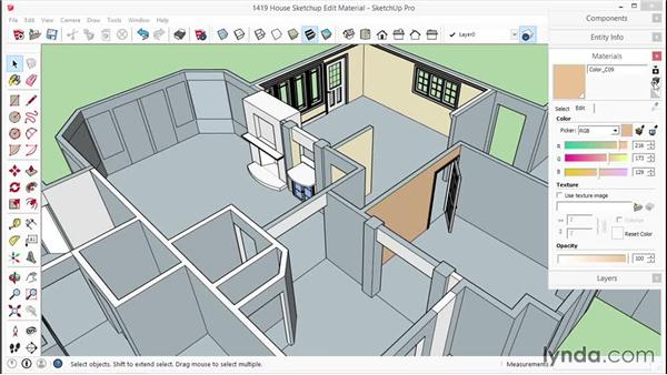 Changing or editing a material: SketchUp for Interior Design