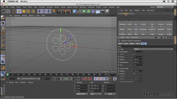 Working with the Cogwheel spline object: CINEMA 4D R16 Essential Training