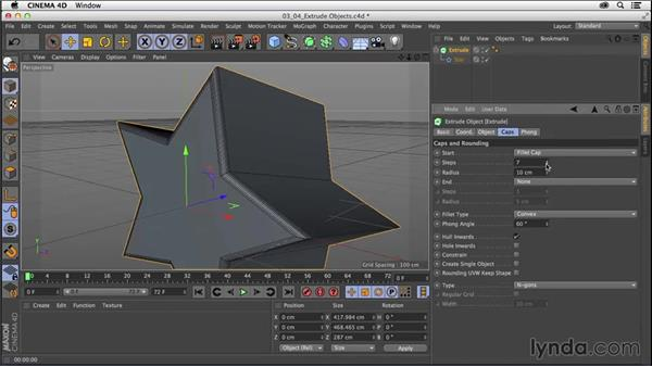 Modeling with splines: Extrude objects: CINEMA 4D R16 Essential Training