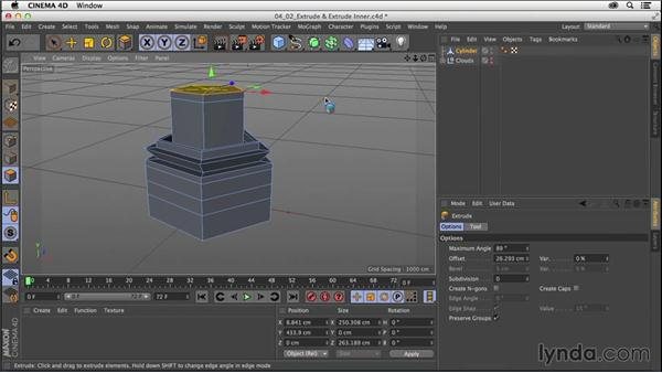 Modeling with Extrude and Extrude Inner tools: CINEMA 4D R16 Essential Training