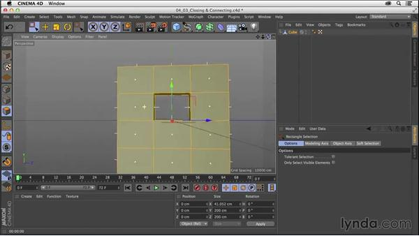 Closing and connecting geometry with the PolyPen and Bridge tools: CINEMA 4D R16 Essential Training