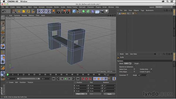 Refining models with the Knife tool: CINEMA 4D R16 Essential Training