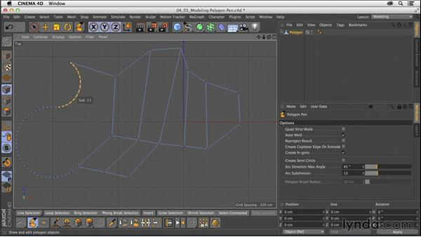 Modeling with the Polygon Pen tool: CINEMA 4D R16 Essential Training