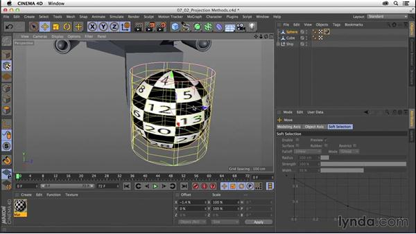 Applying materials: Projection methods: CINEMA 4D R16 Essential Training