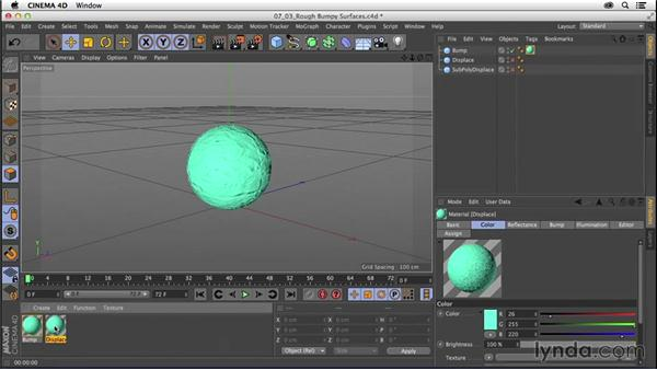 Creating materials: Rough, bumpy surfaces: CINEMA 4D R16 Essential Training