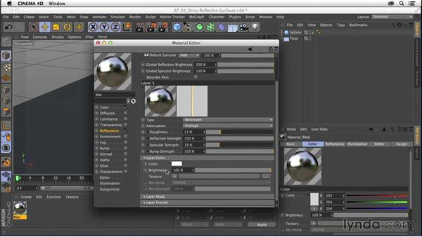 Creating materials: Shiny, reflective surfaces: CINEMA 4D R16 Essential Training