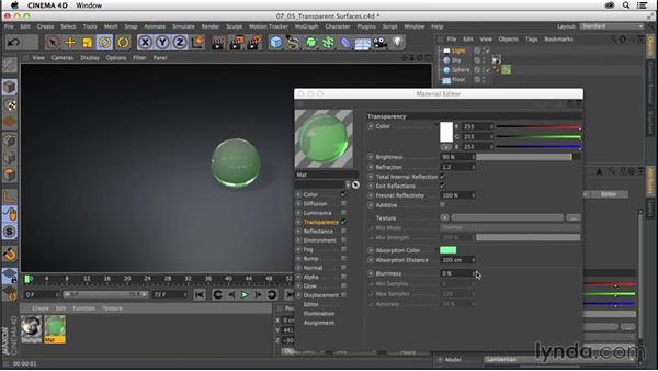 Creating materials: Transparent surfaces: CINEMA 4D R16 Essential Training