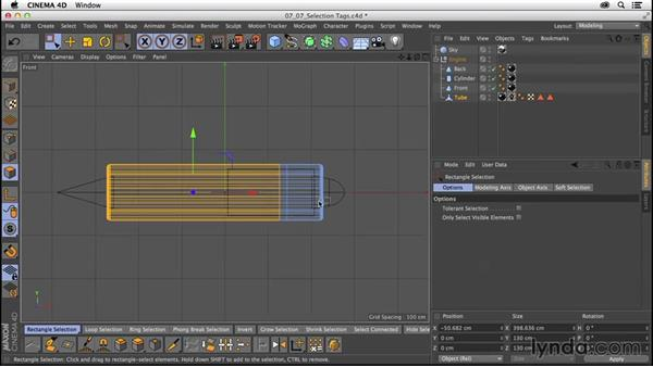 Refined material application with selection tags: CINEMA 4D R16 Essential Training
