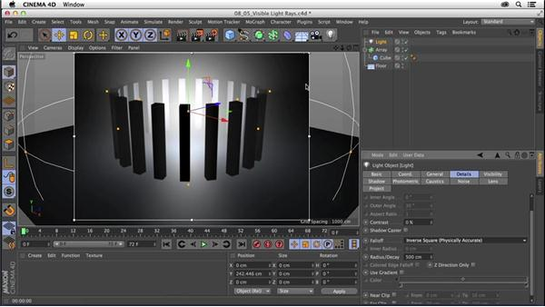 Creating visible light rays: CINEMA 4D R16 Essential Training
