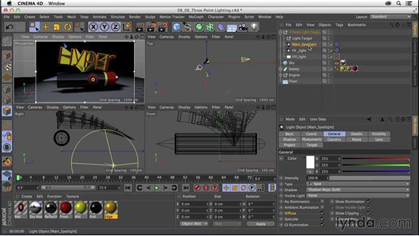 Creating three-point lighting: CINEMA 4D R16 Essential Training