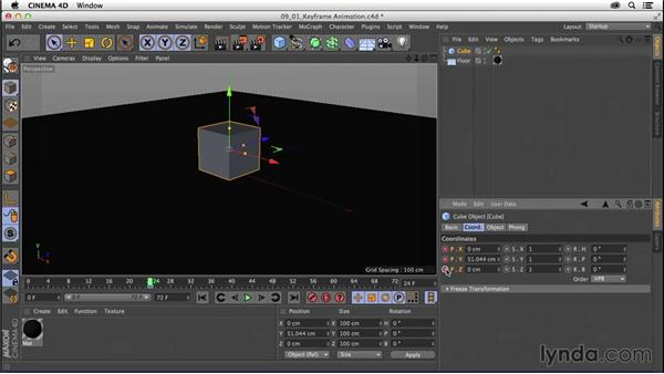 Exploring keyframe animation: CINEMA 4D R16 Essential Training
