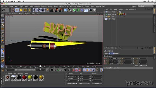 Animating in the Timeline and mini-timeline: CINEMA 4D R16 Essential Training
