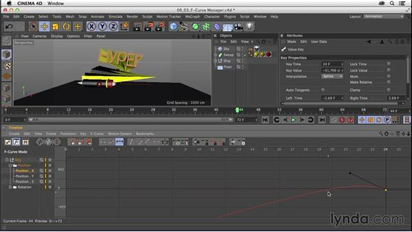 Controlling animation between keyframes with the F-Curve Manager: CINEMA 4D R16 Essential Training