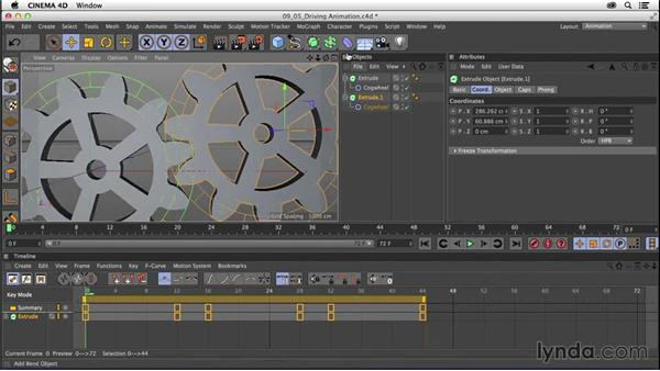 Driving animation between multiple objects: CINEMA 4D R16 Essential Training