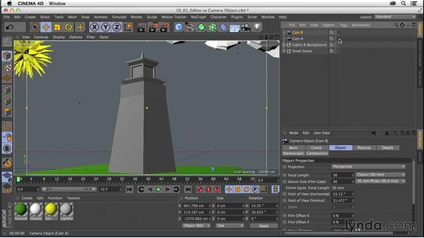 Understanding the editor camera vs. a camera object: CINEMA 4D R16 Essential Training
