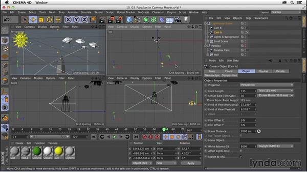 Explaining parallax in camera movement: CINEMA 4D R16 Essential Training