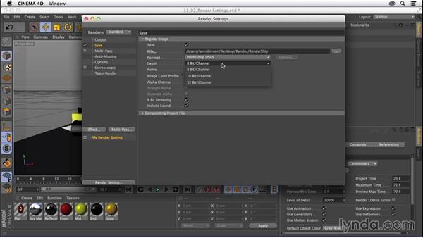 Exploring render settings: CINEMA 4D R16 Essential Training