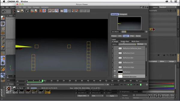 Previewing multipass rendering in the picture viewer: CINEMA 4D R16 Essential Training