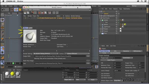 Batch rendering with the Render Queue: CINEMA 4D R16 Essential Training