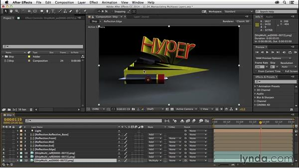 Manipulating multipass renders in After Effects: CINEMA 4D R16 Essential Training