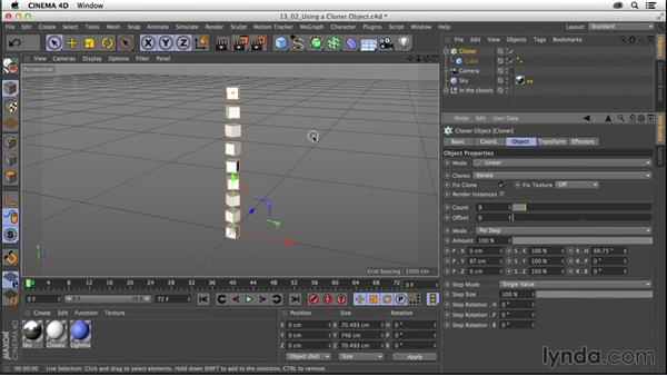 Using a Cloner object: CINEMA 4D R16 Essential Training
