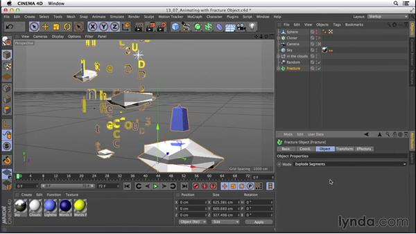 Creating animation with the Fracture object: CINEMA 4D R16 Essential Training