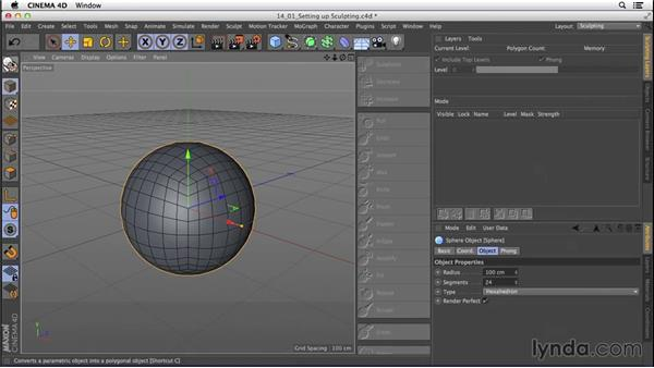 Setting up for sculpting: CINEMA 4D R16 Essential Training
