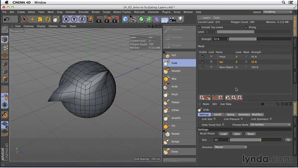 Intro to sculpting layers: CINEMA 4D R16 Essential Training
