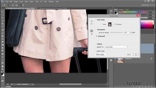 Creating a mask with Select > Focus Area (CC 2014): Photoshop CC 2013 One-on-One: Advanced