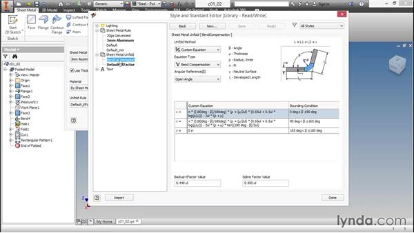 Options for calculating flat patterns: Sheet Metal Design with Inventor