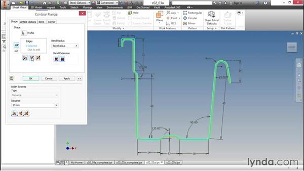 Saving steps using a contour flange: Sheet Metal Design with Inventor