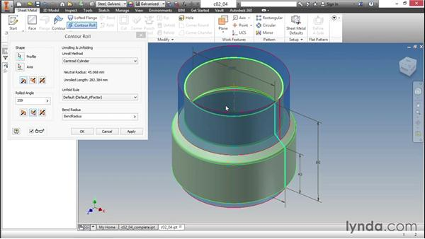 Exploring the options of the contour roll: Sheet Metal Design with Inventor