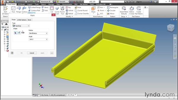 Cleaning up the edges with a hem: Sheet Metal Design with Inventor