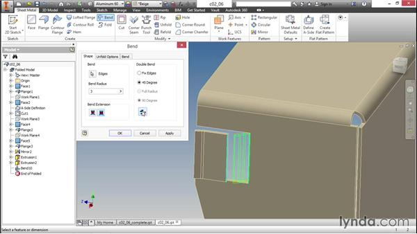 Using the Bend feature to bring it all together: Sheet Metal Design with Inventor